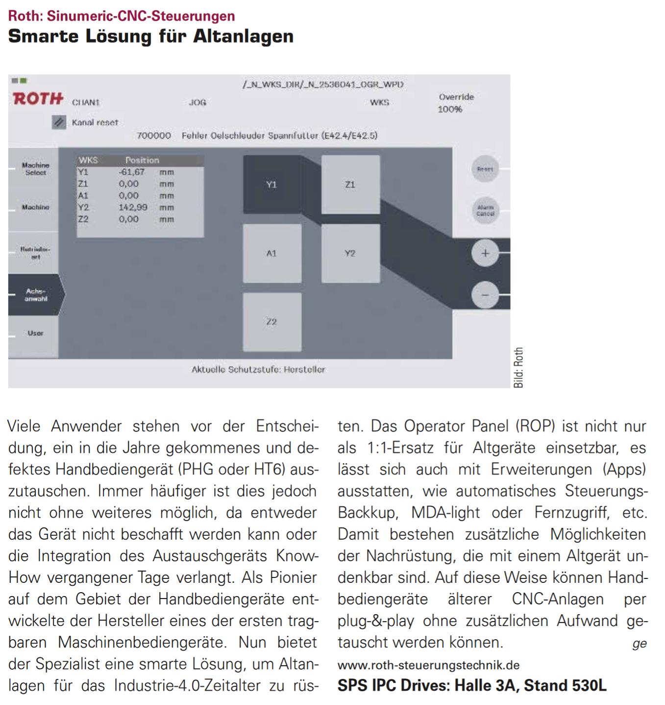 Roth Steuerungstechnik - 16. November 2016 - Smarte Lösung für Altanlagen – das ROTH Operator Panel